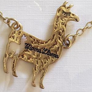 Goldtone Mama Llama Necklace